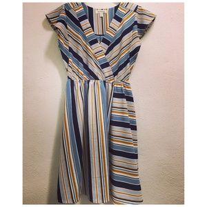 Monteau Striped Midi V-Neck Dress Small